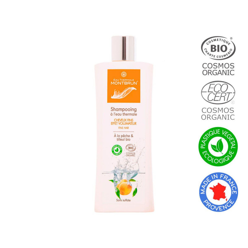 Champú con agua termal para cabello fino efecto volumen Bio 250ml.
